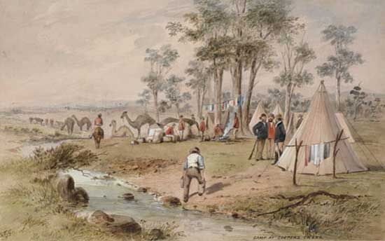 Camp at Coopers Creek, c.1862, by S.T. Gill, Watercolour