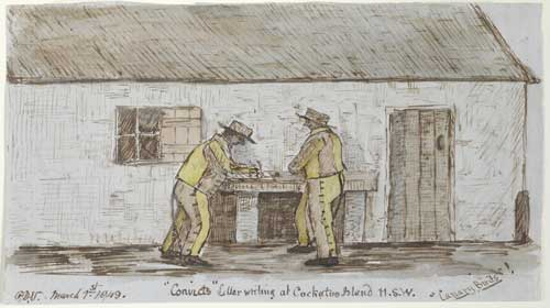 'Convicts' Letter writing at Cockatoo Island, NSW, 'Canary Birds'