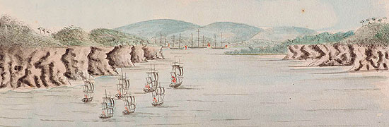 Drawing - First Fleet at Botany Bay