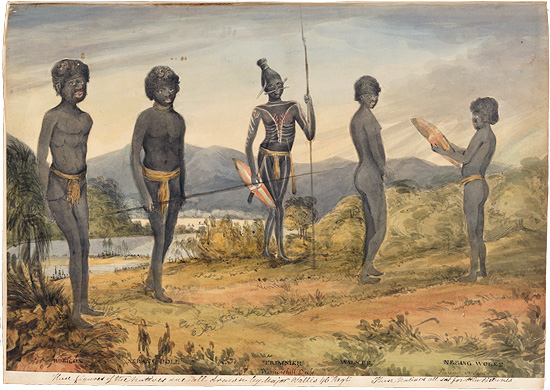 View of a river landscape with five cut out pasted down drawings of five standing Aborigines