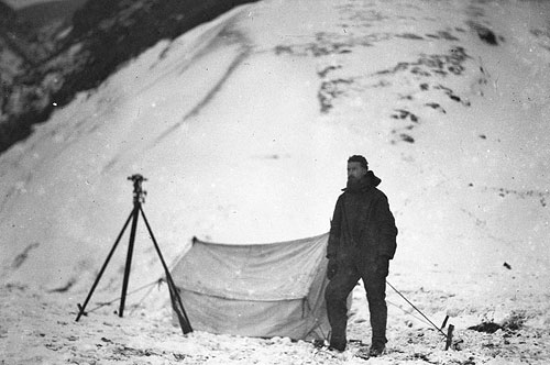 Blake & his tent taken during his survey of the island, 1911 - 1914, by L. R. Blake