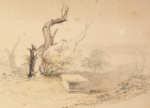 Detail from Botany Bay by Oswald Brierly