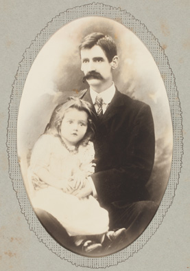 Henry Lawson with his daughter Bertha Louisa, c.1902, photoprint.