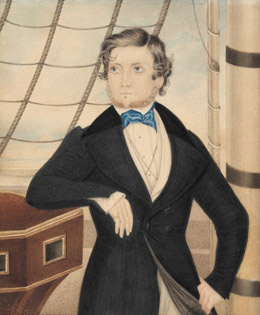 [Portrait of an unidentified man, on board ship], 1842, by Edmund Edgar. Watercolour on card. P2 / 472