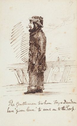 Detail, 'The Gentleman to whom Fry & Davidson have 'given leave' to come on to the Poop', from Sketches on board the barque Mary Harrison and ashore in Australia, 1852-54, by T. Warre Harriott. Pencil and ink drawing. PXB 341 p. 67