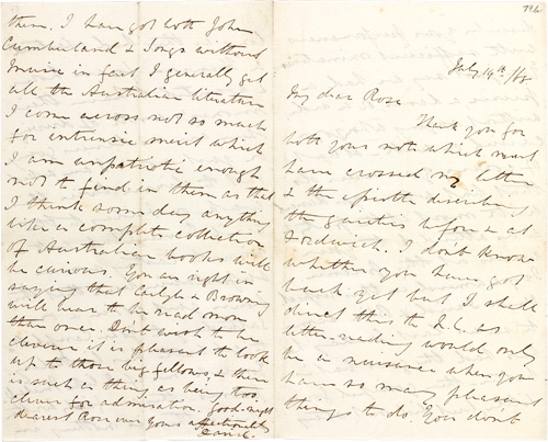 Letter to Rose Scott, 19 July 1868 | State Library of New