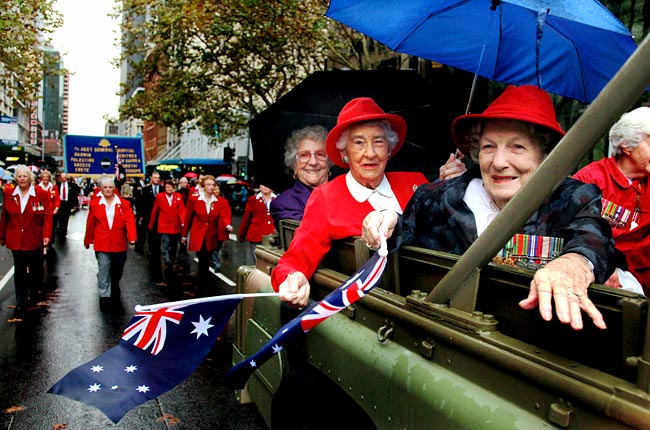 RAA Nursing corps association - 3 ladies all 96 years old L-R Hazel Bryce, Meg Ewart and Janet Hill by Edwina Pickles