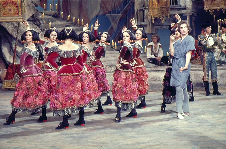 Rudolf Nureyev with artists of The Australian Ballet during the making of the film Don Quixote, 1972