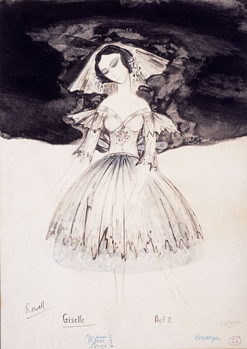 Costume design by Kenneth Rowell for the title role of Giselle
