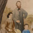 Colonial family, portrait in rural landscape setting