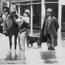 1917 flood, photograph taken at Edward River Hotel. Three men on horse - Deniliquin, NSW