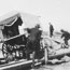 Shearers and wagon tipped over on