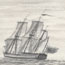 Wash drawing of a ship, presumably the Dolphin
