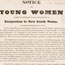 London. Notice to young women, 26 February, 1833, regarding emigration to N.S.W.