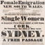 Ireland. Female emigration to N.S.W. from Ireland. Ship to sail from Cork